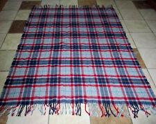 Pendleton 100% Virgin Wool Plaid Blanket Fringe Blue Red  50 x 70 Made in USA