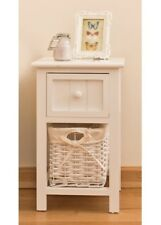 Small Wooden Side Table Drawer Wicker Basket White Telephone Stand Storage Unit