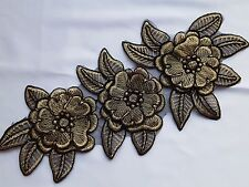 Gold Black 3D Floral Embroidery Applique Motif Lace Sewing Trim EB0292