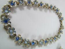 Vintage Chocker Necklace Floral W/ Blue and White Stones