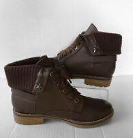 "Tommy Hilfiger ""Oranda 2"" Brown Leather Lace Up Ankle Boots Women's Size 8.5 M"
