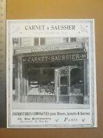 PUB ANCIENNE ADVERT CLIPPING 1904 Traiteur Carnet Saussier Rue Montmartre Paris