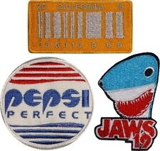 Set Back to the Future Embroidered Patches Pepsi Perfect Jaws 19 Delorean Plate