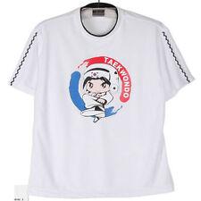 Unisex-Clothing White Short Sleeve Taekwondo Round T-Shirt Sz12 (130cm~140cm)NEW