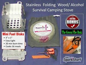 WOW! OUTDOOR CAMPING HIKING FOLDING WOOD W/Mini Green Fire Disk & FERR0 ROD