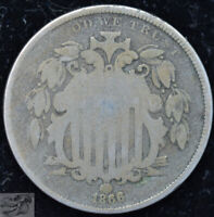1866 Rays Shield Nickel, About Good+ to Good Condition, Free Shipping, C5110