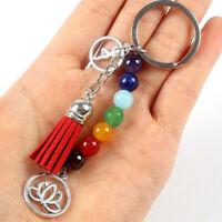 Women Keyring Lotus Tassel Keychain Car Keychain Tassel Keychain Beads Key Chain