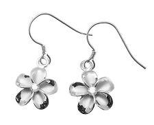 Flower On Hook Wire Rhodium Earrings 12Mm Sterling Silver 925 Hawaiian Plumeria