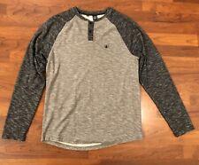 Volcom L Long Sleeve  Henley Gray Cotton Casual Men T Shirt