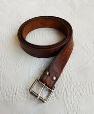 """Vintage LACOSTE Men's Brown Leather Buckled Slim Belt. Size 38""""-42""""."""