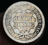 1853 Seated Liberty Half Dime 5C Arrows Ungraded Good Date Silver US Coin CC4740