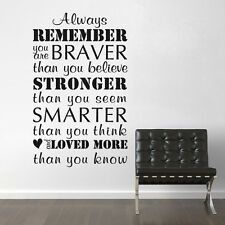 Motivation Wall Decal Always Remember You Are Braver Word Vinyl Room Mural Decor