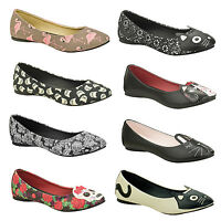 TUK Womens Ladies Unique Rockabilly Pinup Retro Character Ballet Flat Shoes UK