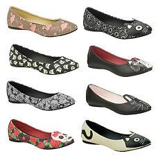 TUK Womens Ladies Unique Rockabilly Pinup Retro Character Ballet Flat Shoes UK