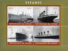 Congo 2018 CTO Titanic 4v M/S II Ships Boats Nautical Stamps