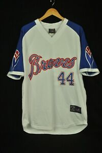 Majestic Cooperstown Collection Atlanta Braves Hank Aaron #44 Sewn Jersey L USA