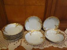 "50s WAWEL POLAND 10 Sauce Bowls 5"" WAVA19 gold leaf scrolls scalloped edges"