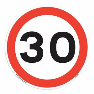 30 Mph Speed Sign [1 X 150mm W x 150mm H White Background ] Ideal For Wheelie...