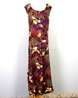 vtg 80s 90s Betsy Lauren Sleeveless Button Front Leaf Pattern Rayon Dress sz 22
