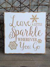 Heaven Sends wooden Leave a Little Sparkle gold snowflake Christmas sign 23cm