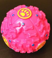 Pet Dog Squeaky Giggle Quack Sound Training Toy Ball with Food Dispenser - Pink