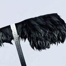 Black Shredded Goose Feather Fringe Ribbon Trim Price for 30cm DIY Craft