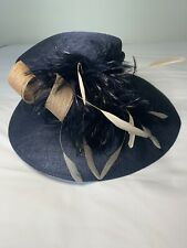 Navy And Beige Hat For Wedding