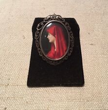 Antique Victorian Sterling Silver Hand Painted Woman Portrait Pin Pendant