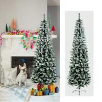 Premier Pine Pencil Slim Flocked Spruce Christmas Tree - 200CM/53CM