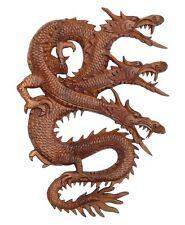 NEU 3 Kopf - Drache Relief Holz Dragon Drachen Feng Shui Rel19