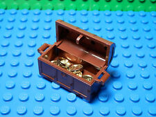One NEW Treasure Chest Container Complete Assembly with Coins Reddish Brown