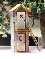 TWO LEVEL OUTHOUSE N Scale Model Railroad Structure Unptd Wood Laser Kit RSL3007