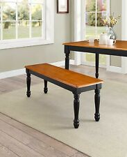 Farmhouse Bench for Dining Table Benches Kitchen Room Wood Seat, Black Oak New
