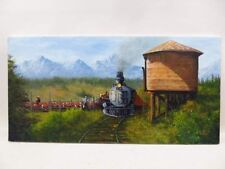 Western Style Oil Painting-JR Rodgers-Cattle being herded on train-cowboys-Amzng