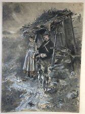 Tableau chasseur et son épouse Aquarelle du XIXème siècle