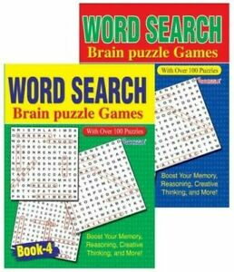 Word Search Brain Activity Puzzle Games -144 Puzzles, A4 Books 3 & 4
