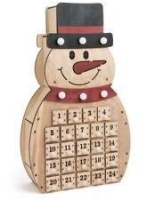 NEW WOODEN CHRISTMAS ADVENT CALENDAR 24 DRAWERS LIGHT UP SNOWMAN 10544