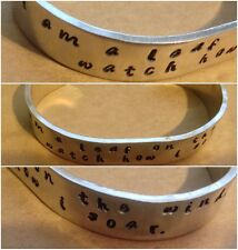Handmade Firefly Serenity I Am A Leaf On The Wind..... Hand stamped Cuff Geeky