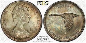 1967 CANADA SILVER $1 DOLLAR BU PCGS MS64 MULTI COLOR TONED COIN IN HIGH GRADE