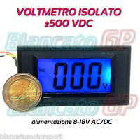 VOLTMETRO DIGITALE ISOLATO 500V DC LCD BLU da pannello voltmeter fotovoltaico