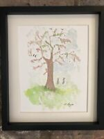 Woodland Creatures, Blossom Tree, Watercolour Original Signed Art, Cottage, Gift