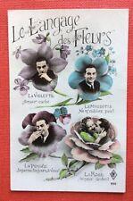 CPSM. 1955. Le Langage des Fleurs. Violette. Myosotis. Pensée. Rose. Homme.