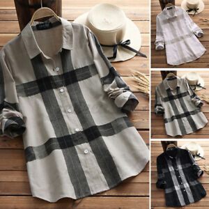 2021 UK Womens Check Plaid Long Sleeve Casual Loose Tops Shirt Blouse Plus Size