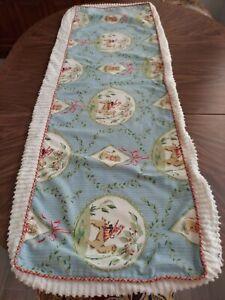 52x17 Box Pillow COVER~Pat Freund P Kauffman~Blue & Green Fabric w Chenille Edge