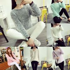 Damen Sweatshirt Strick Pullover Cardigan Velvet Top Bluse Longshirt Jumper NEU