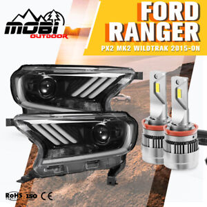 MOBI LED Headlights Projector Halo DRL For Ford Ranger Everest Dynamic Indicator