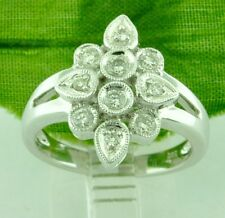 White Gold Ladies Natural Diamond Ring Cluster Right Hand Ring 0.40 ct 14k Solid