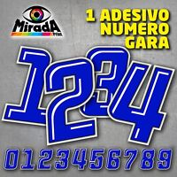 Adesivi / Stickers NUMERO GARA BLU 1 MOTO PISTA AUTO CARENA CUPOLINO SBK