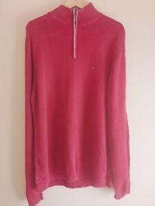 Tommy Hilfiger Red Cotton 1/4 Zip Jumper - Mens Large
