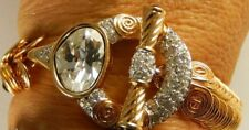 SWAROVSKI Swan Signed ORNATE CRYSTAL Toggle bracelet  Mint w TAG RARE 415